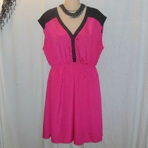 Delirious Hot Pink & Black Midi Dress Sz 3X